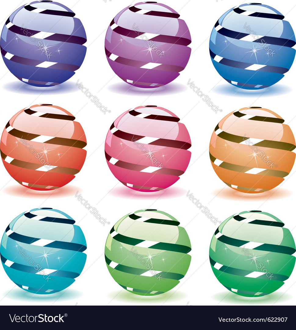 3d shiny globes vector | Price: 3 Credit (USD $3)