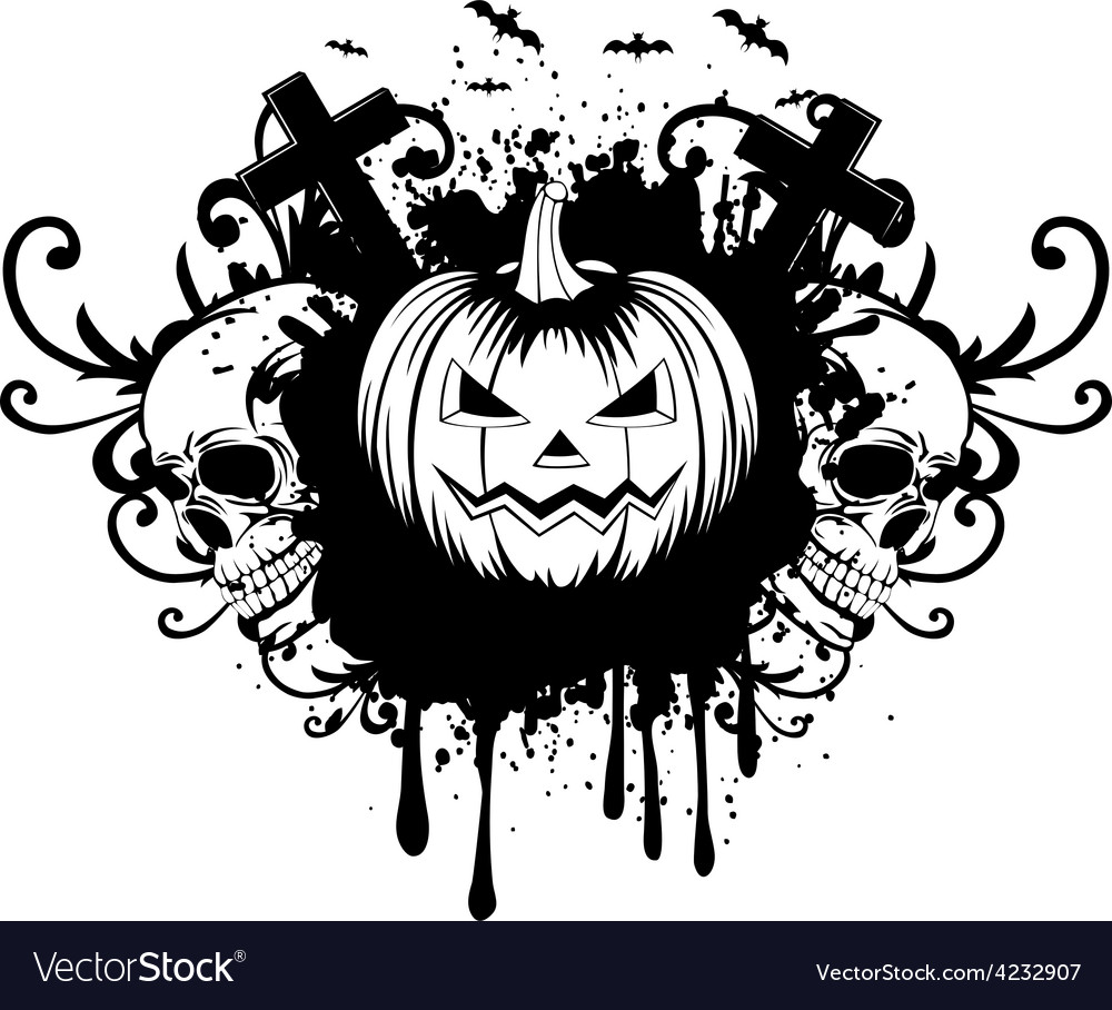 Abstract background pumpkin and two skulls vector   Price: 3 Credit (USD $3)