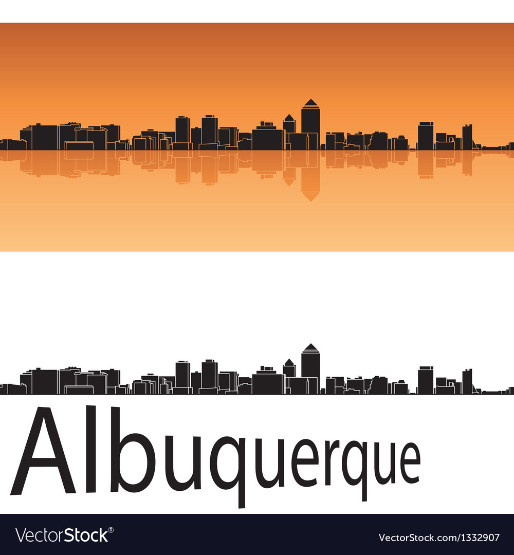 Albuquerque skyline in orange background vector | Price: 1 Credit (USD $1)