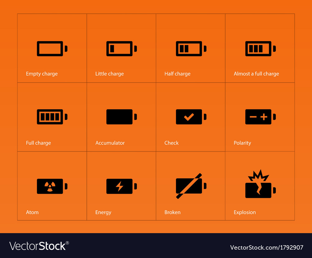 Battery icons on orange background vector | Price: 1 Credit (USD $1)