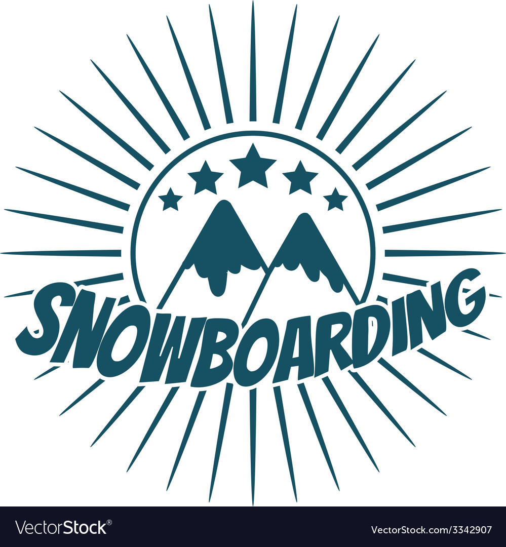 Flat snowboarding with mountains vector | Price: 1 Credit (USD $1)