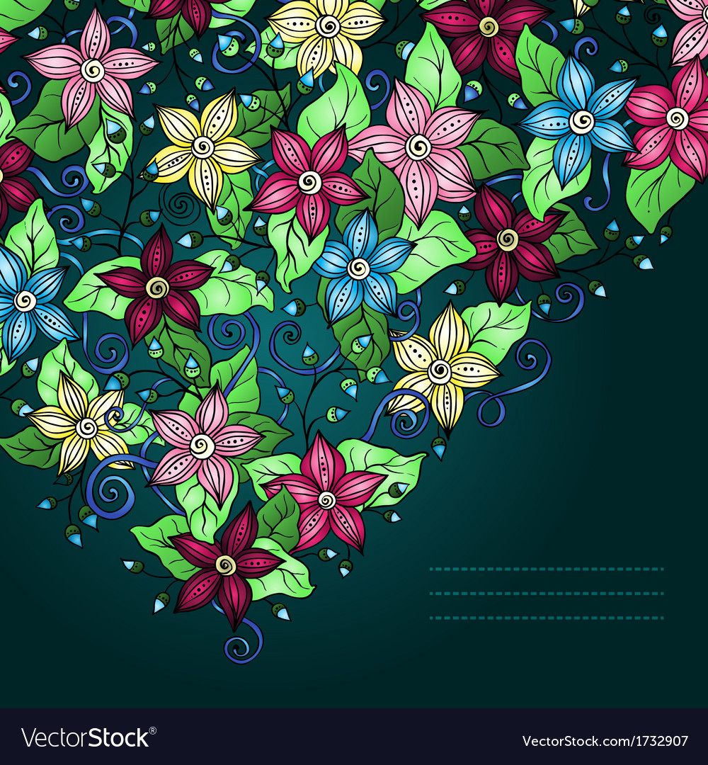 Floral background hand drawn retro flowers and vector | Price: 1 Credit (USD $1)
