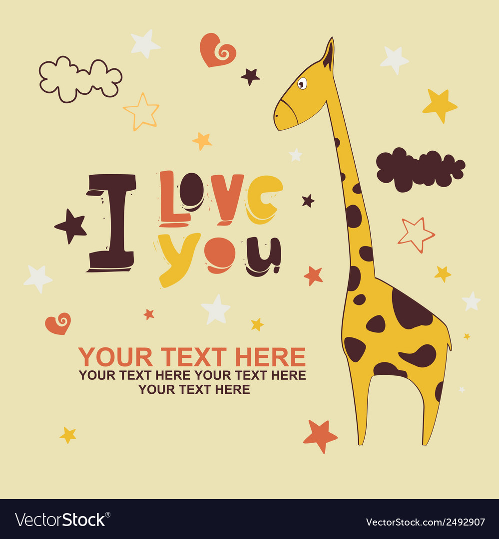 Greeting card with giraffe vector | Price: 1 Credit (USD $1)