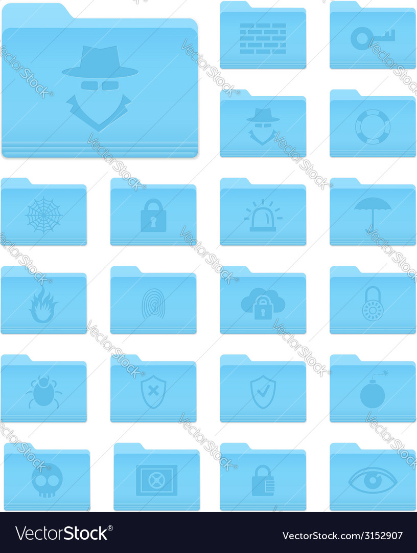 Os x folders with security icons vector | Price: 1 Credit (USD $1)