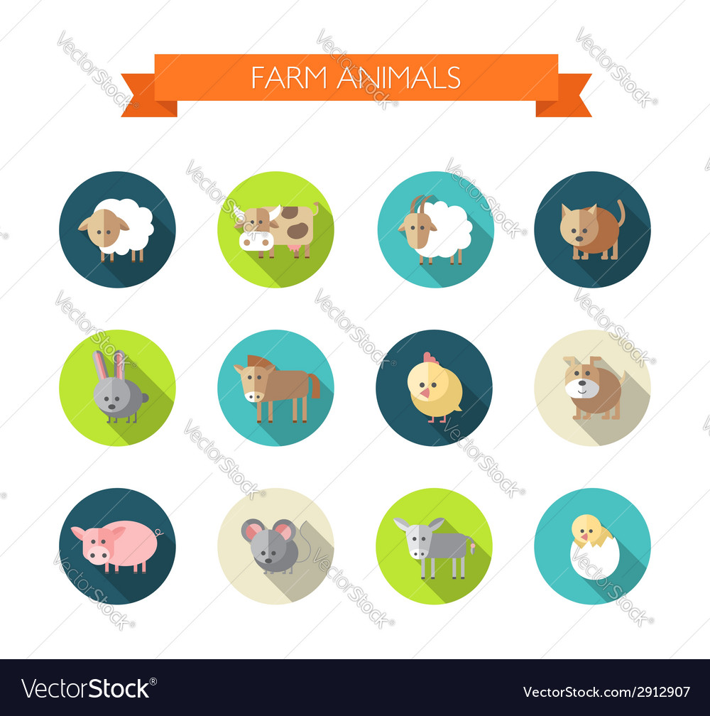Set of flat design icons with farm animals vector | Price: 1 Credit (USD $1)