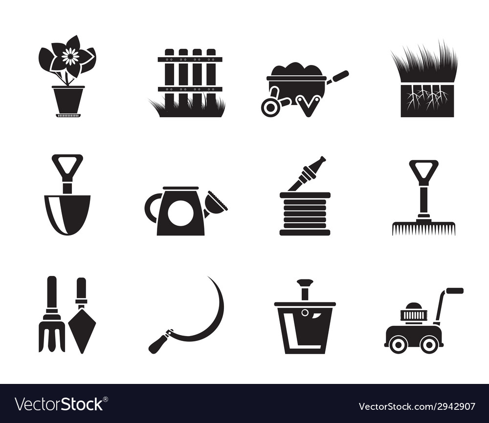 Silhouette garden and gardening tools icons vector | Price: 1 Credit (USD $1)