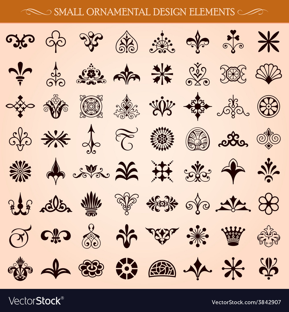 Small ornamental design elements vector | Price: 1 Credit (USD $1)