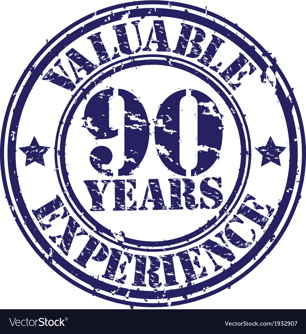 Valuable 90 years of experience rubber stamp vect vector | Price: 1 Credit (USD $1)