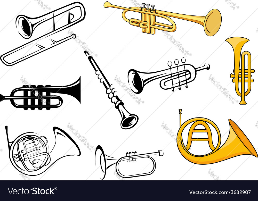 Wind instruments in sketch and cartoon style vector | Price: 1 Credit (USD $1)