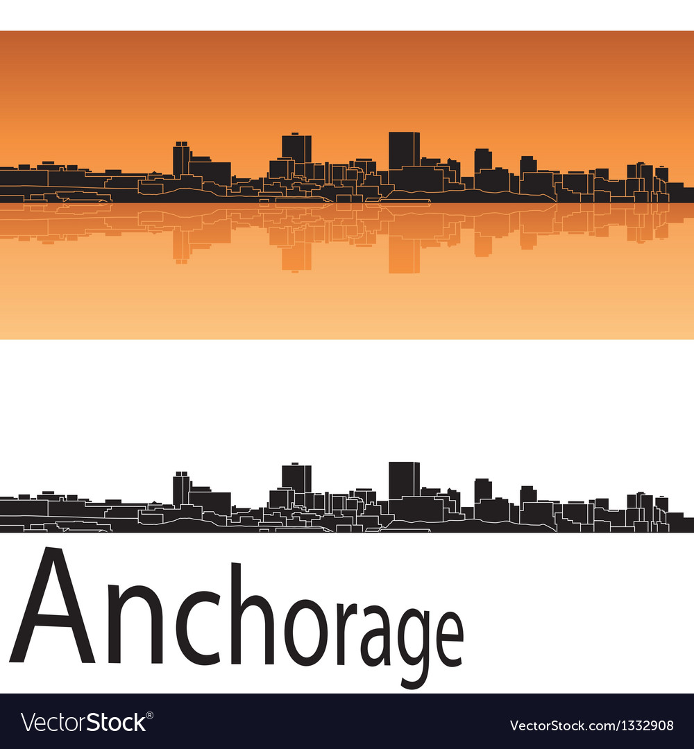 Anchorage skyline in orange background vector | Price: 1 Credit (USD $1)