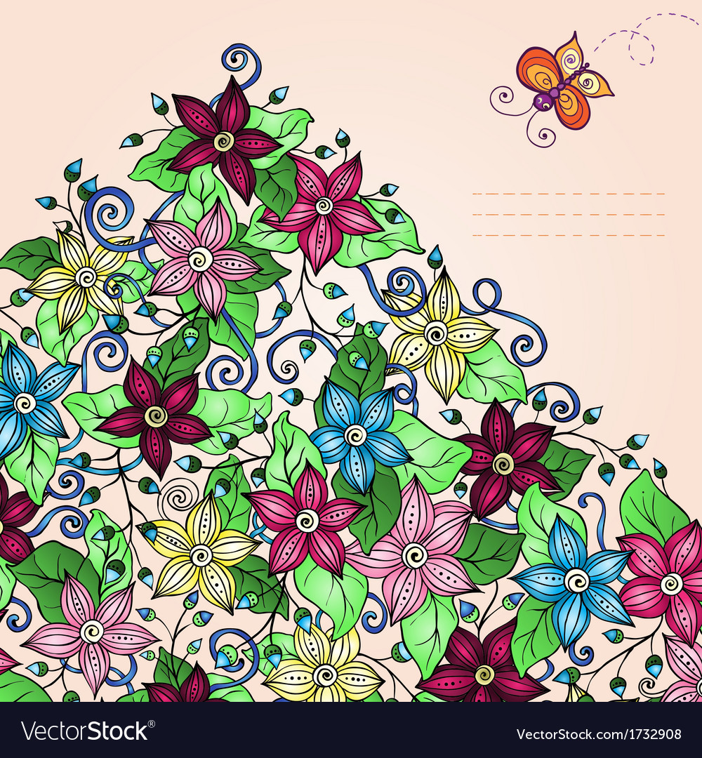 Floral background retro flowers leaves and vector | Price: 1 Credit (USD $1)