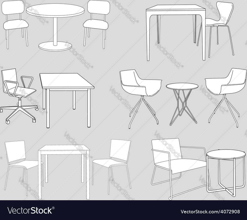 Furniture tables and chairs sketch vector | Price: 1 Credit (USD $1)