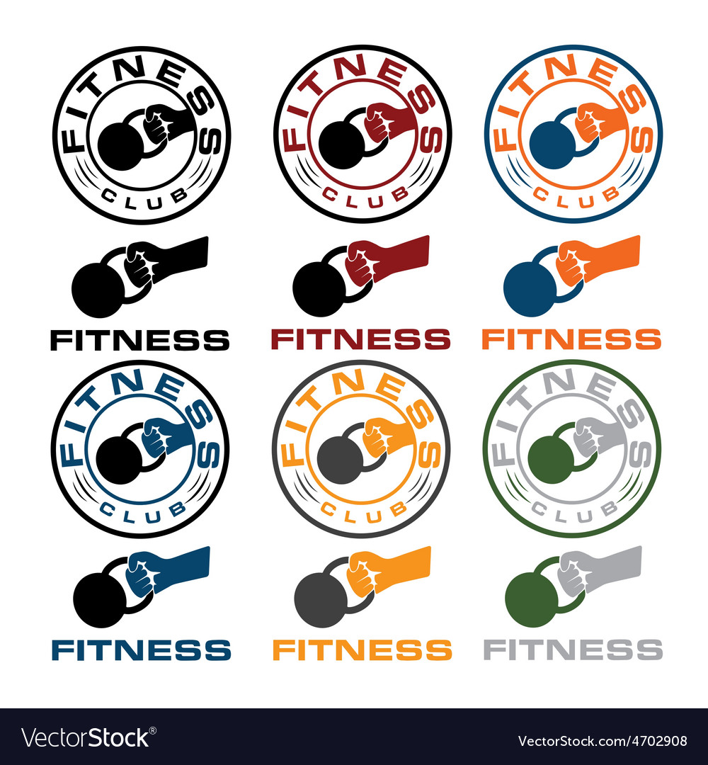 Grunge kettlebell in the hand fitness emblems vector | Price: 1 Credit (USD $1)