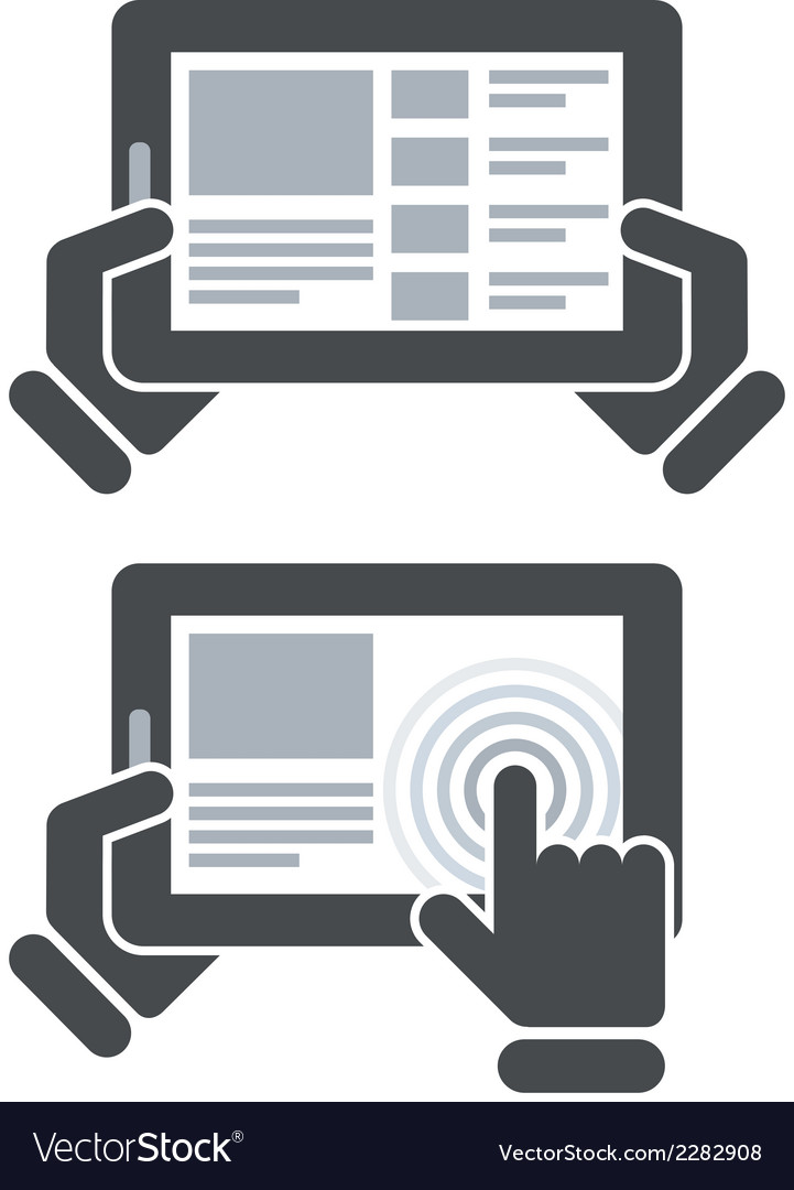 Hands holding tablet computer and open website vector | Price: 1 Credit (USD $1)