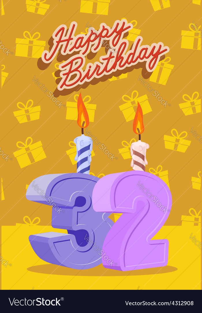 Happy birthday card with 32 th birthday vector | Price: 1 Credit (USD $1)