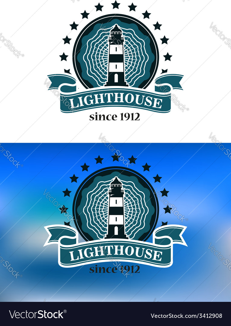 Nautical emblem with a lighthouse vector | Price: 1 Credit (USD $1)