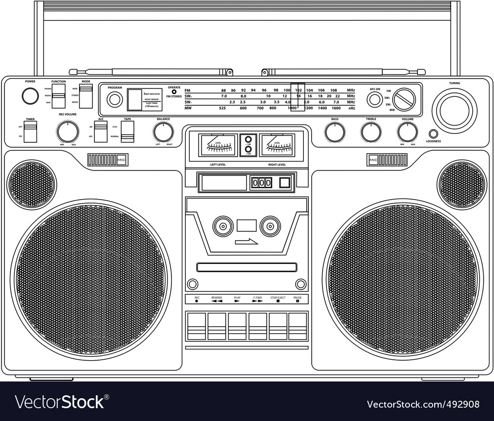 Portable tape player vector | Price: 1 Credit (USD $1)