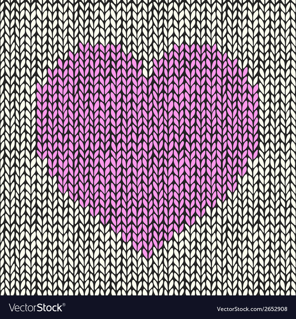 Seamless background with pink knitted heart vector | Price: 1 Credit (USD $1)