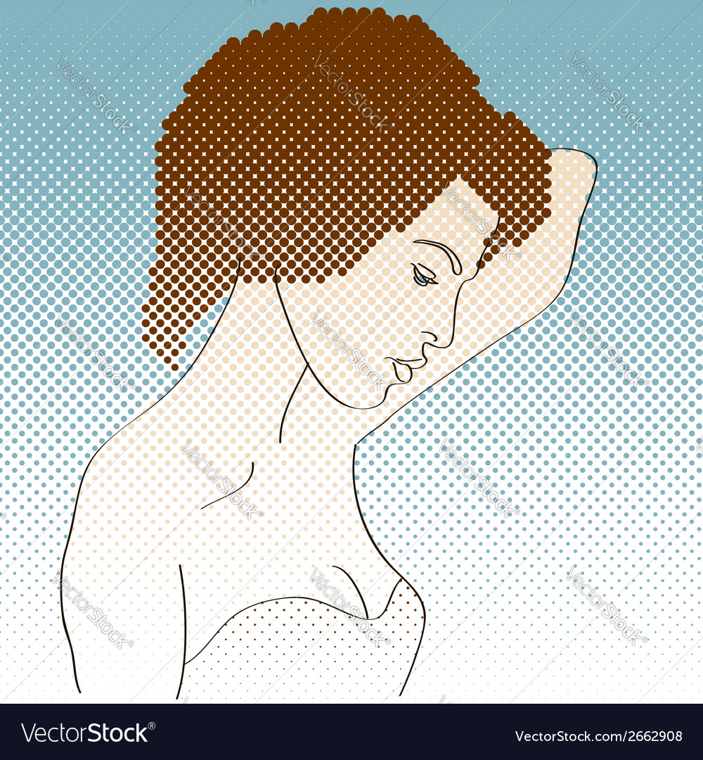 Side view of girl vector | Price: 1 Credit (USD $1)