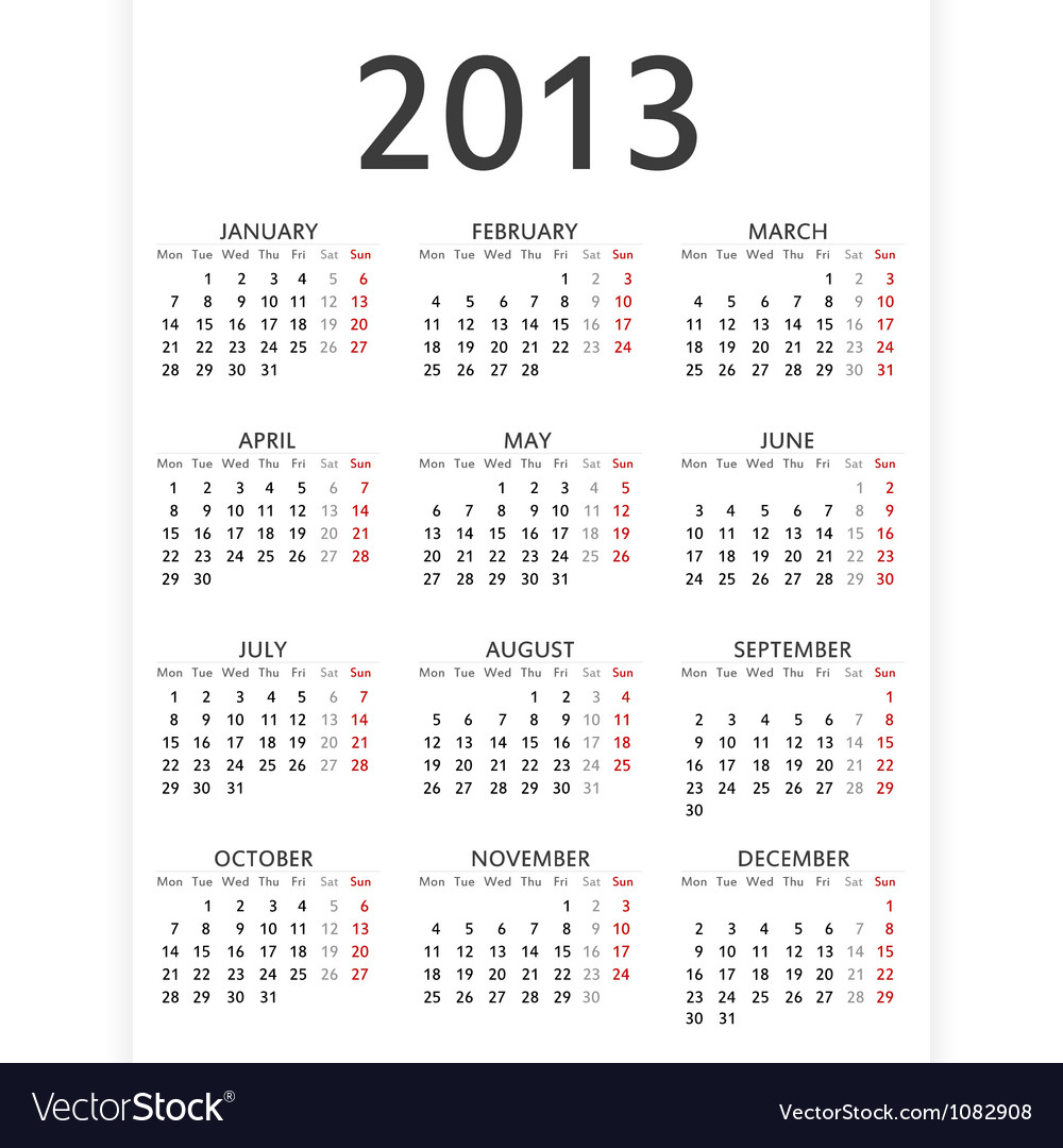Simple 2013 calendar vector | Price: 1 Credit (USD $1)