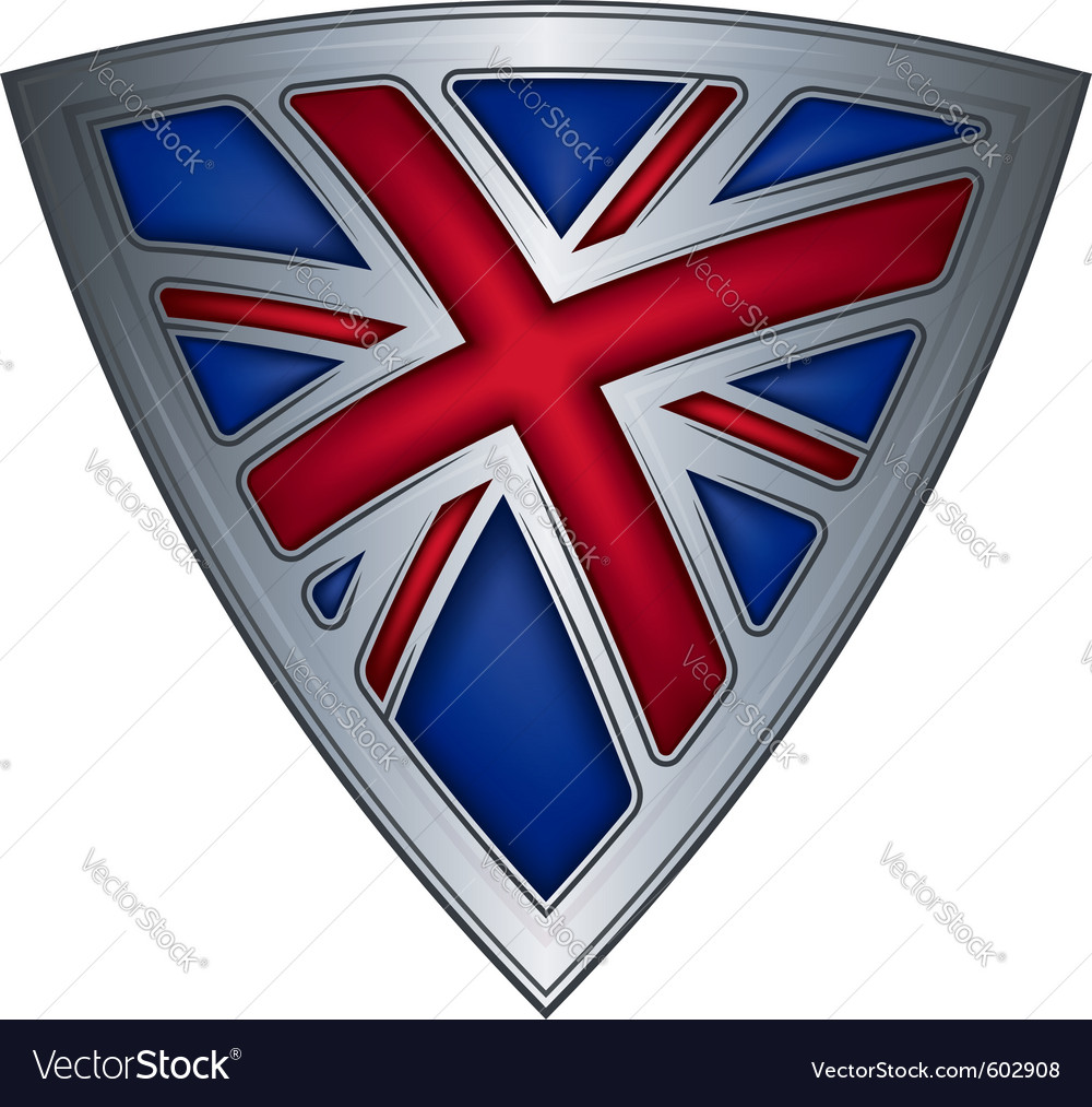 Steel shield with flag uk vector | Price: 1 Credit (USD $1)