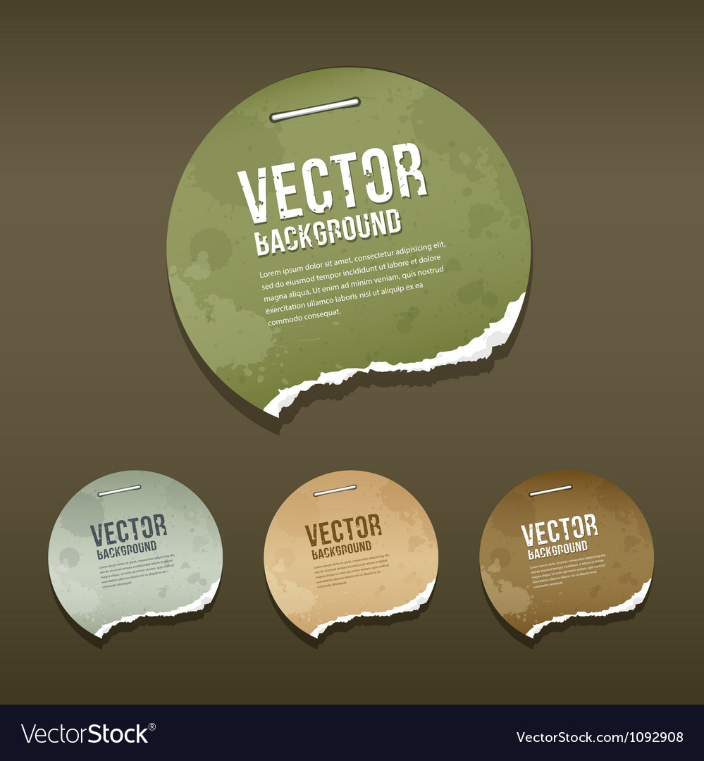 Vintage ripped label circle paper design vector | Price: 1 Credit (USD $1)
