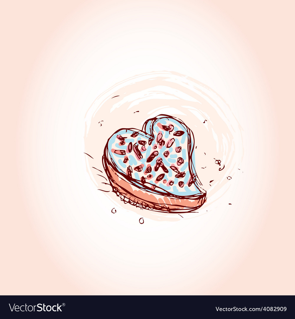 Cake in the shape of heart hand drawn sketch on vector | Price: 1 Credit (USD $1)