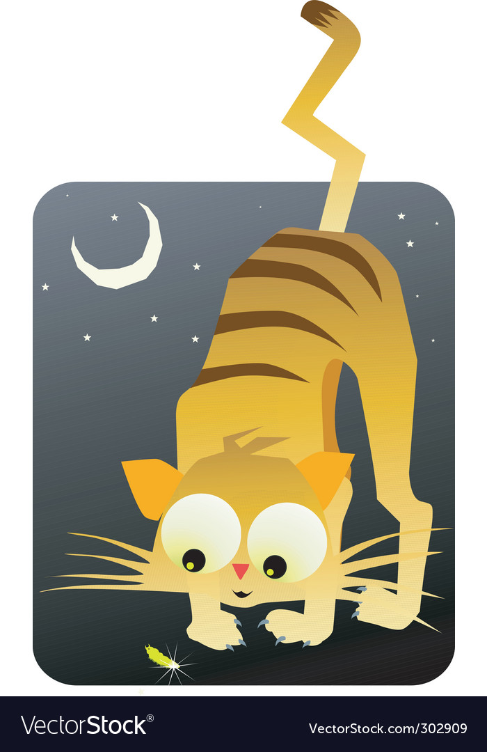 Cat and moon vector | Price: 1 Credit (USD $1)