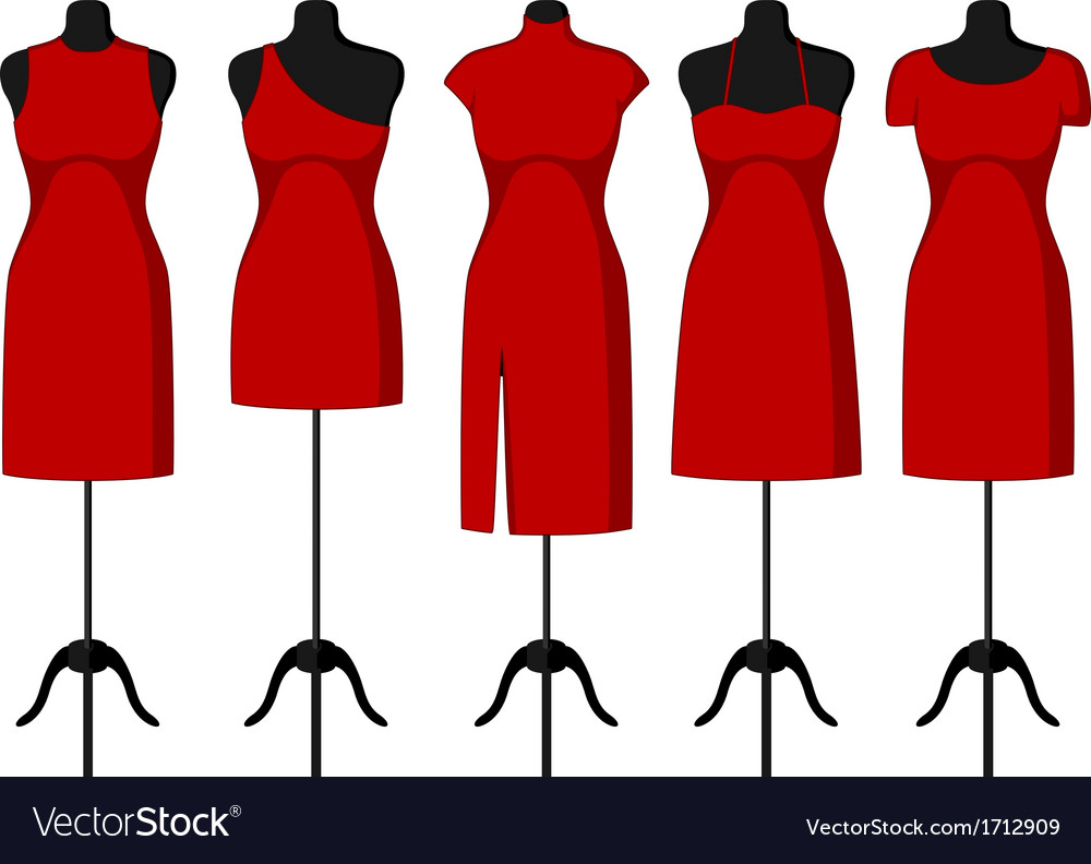 Cocktail and evening dresses on mannequin vector | Price: 1 Credit (USD $1)