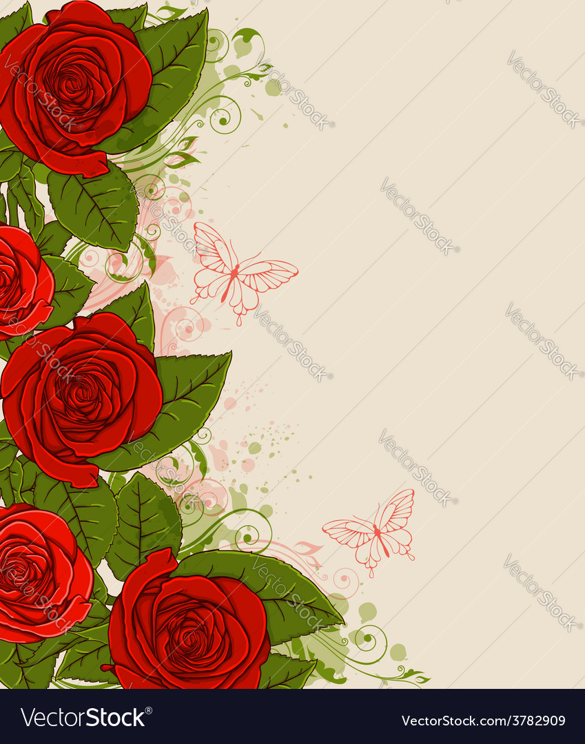 Decorative background with red roses vector   Price: 1 Credit (USD $1)