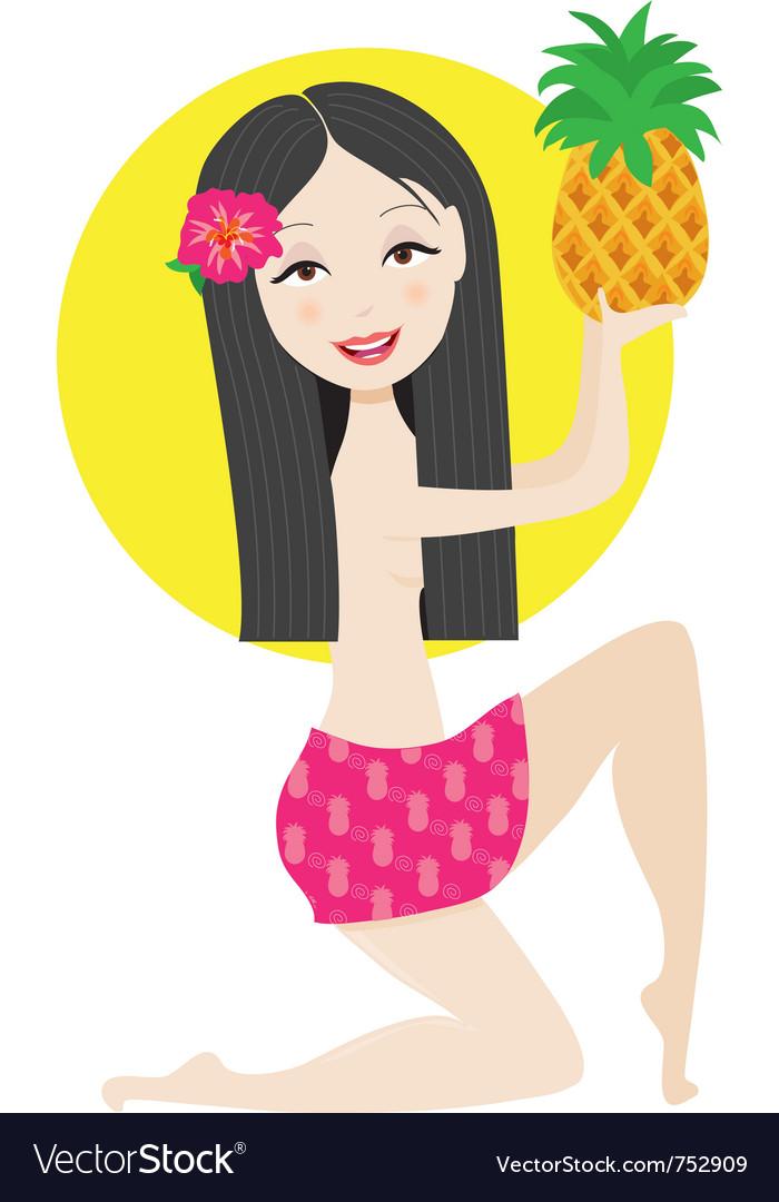 Hawaiian girl vector | Price: 1 Credit (USD $1)