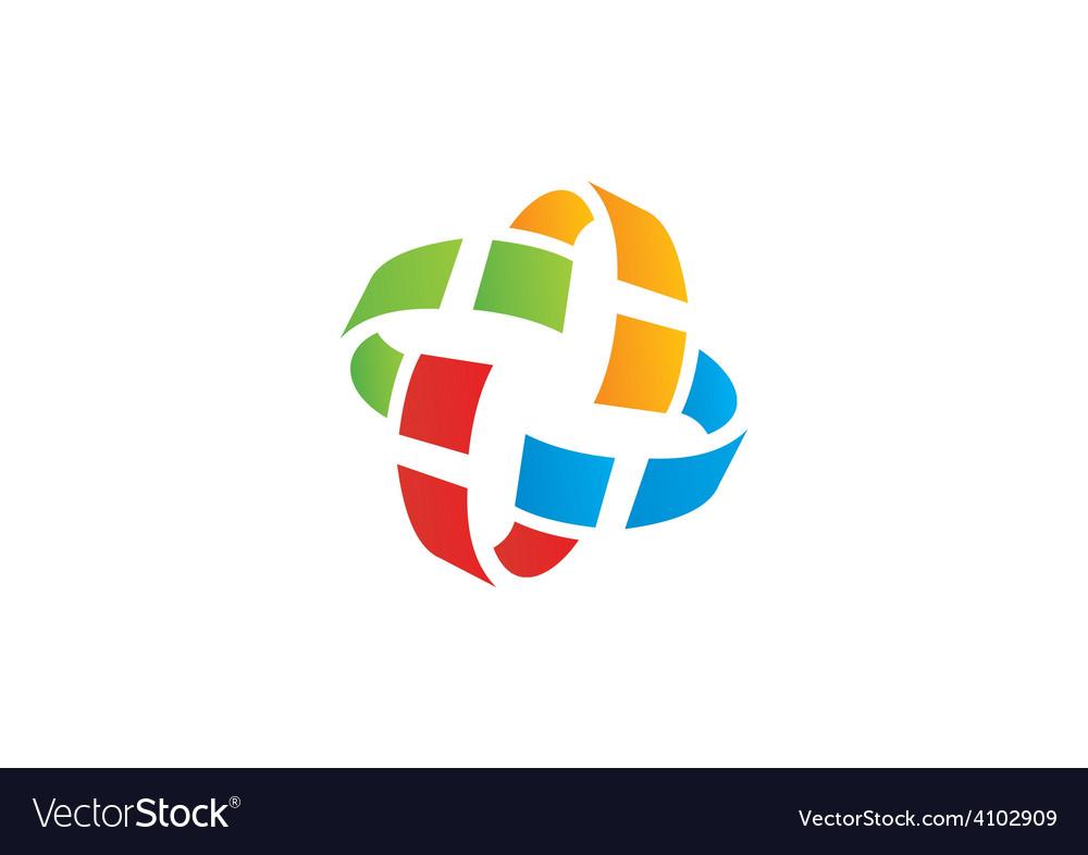Orbit pixel colorful circle logo vector | Price: 1 Credit (USD $1)
