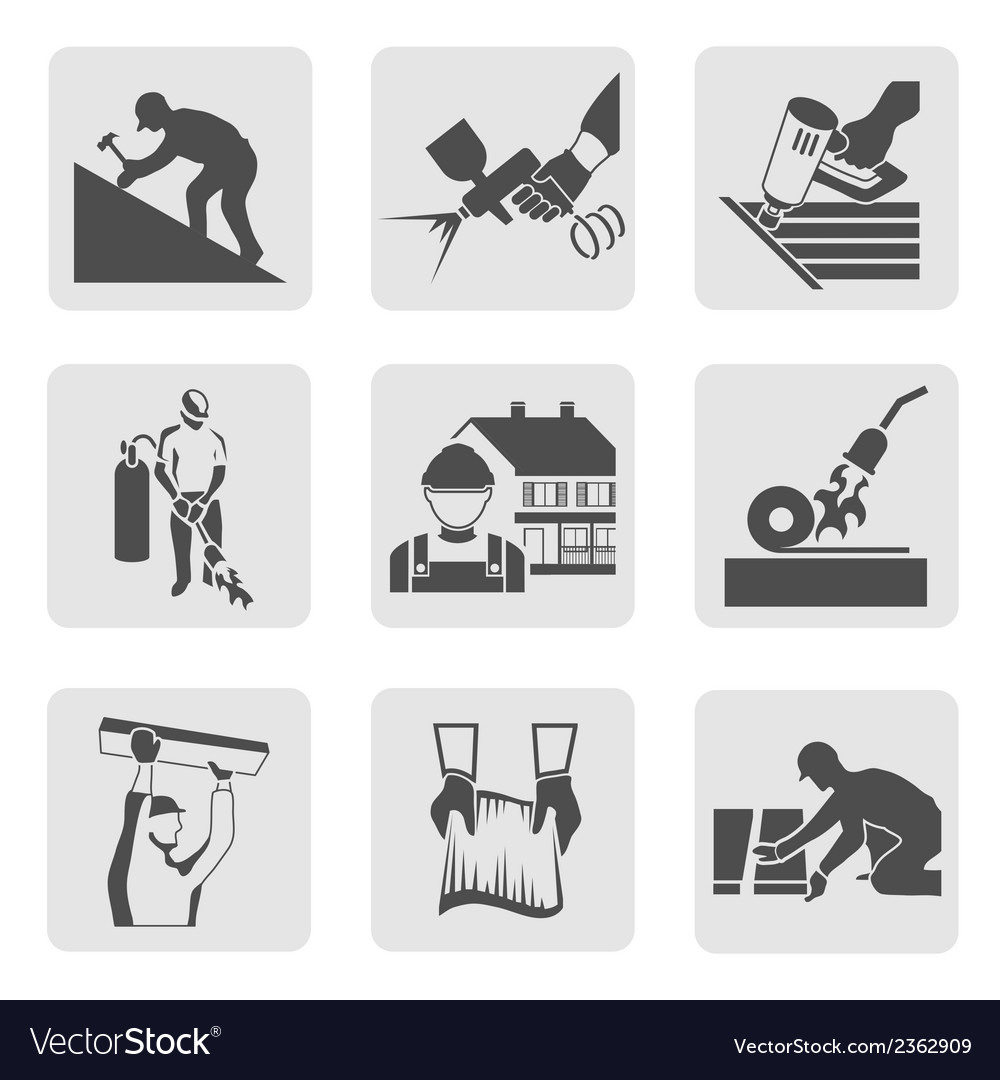 Roofer icons set vector | Price: 1 Credit (USD $1)