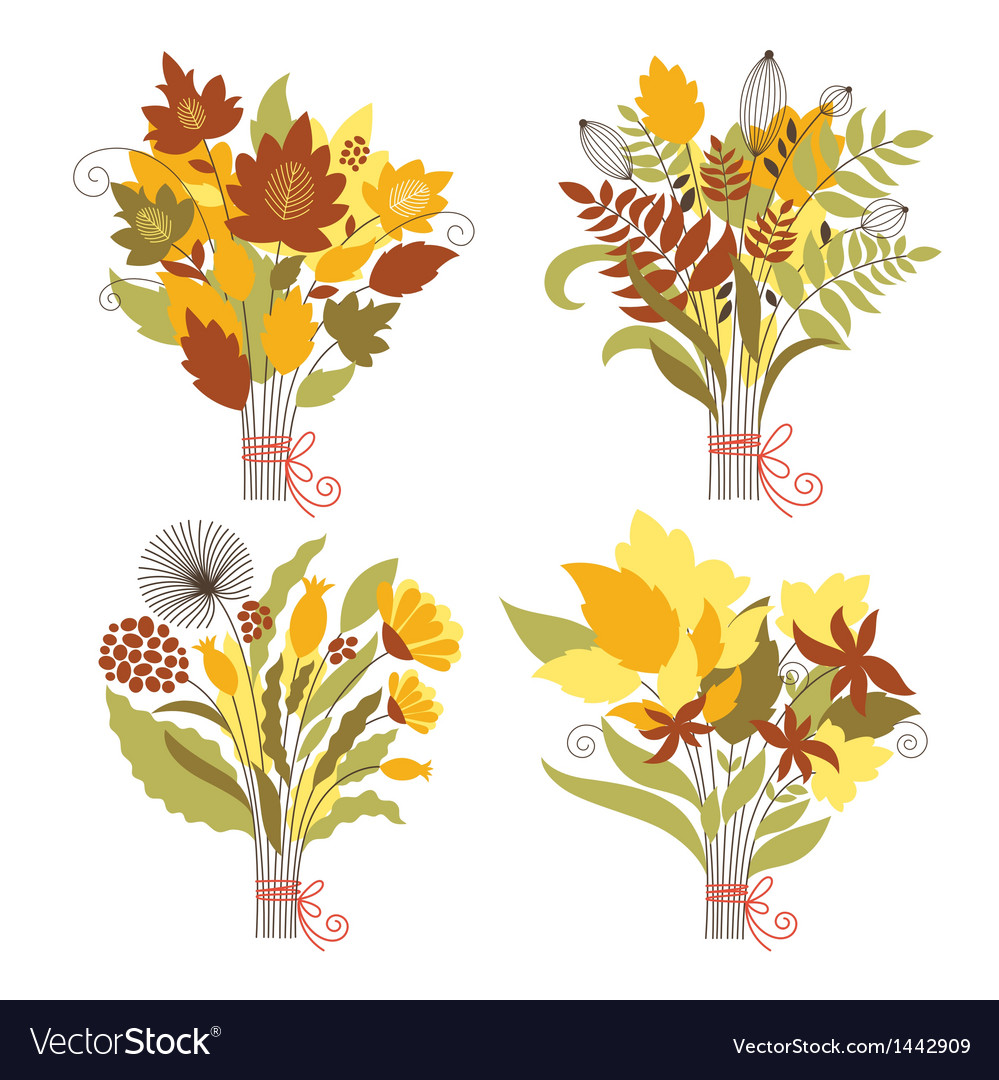 Set of autumnal bouquets vector   Price: 1 Credit (USD $1)
