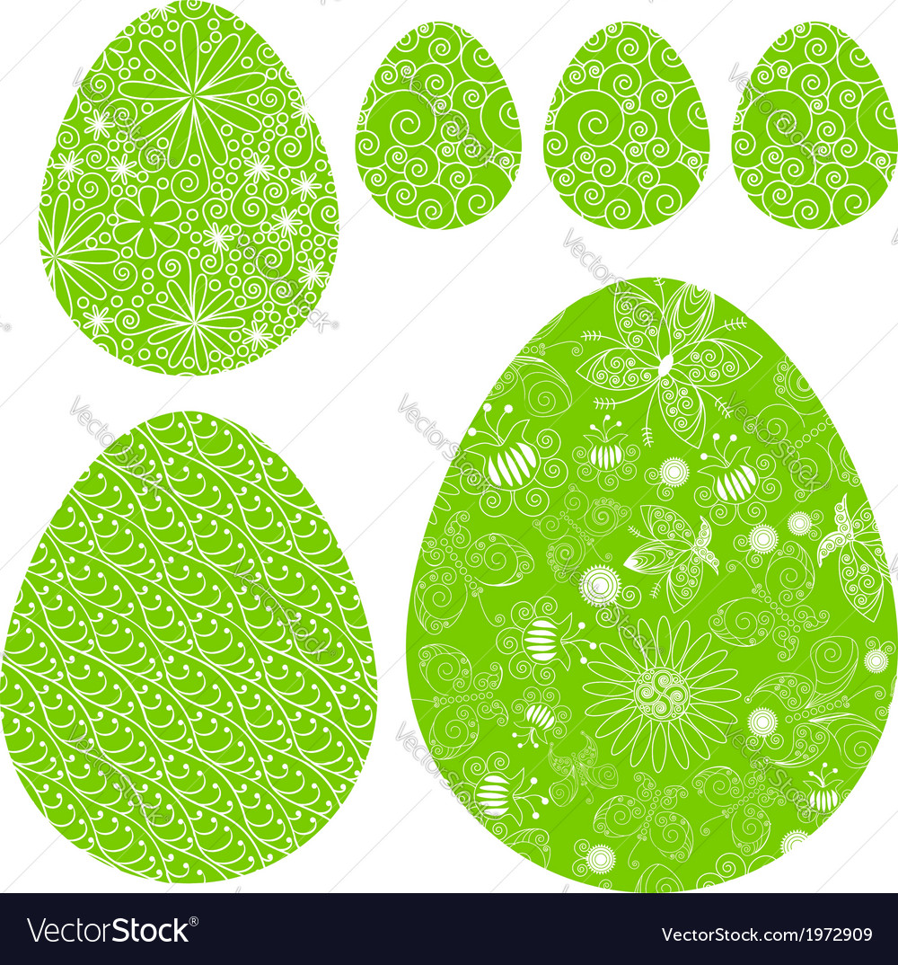 Set of decorative easter eggs vector | Price: 1 Credit (USD $1)