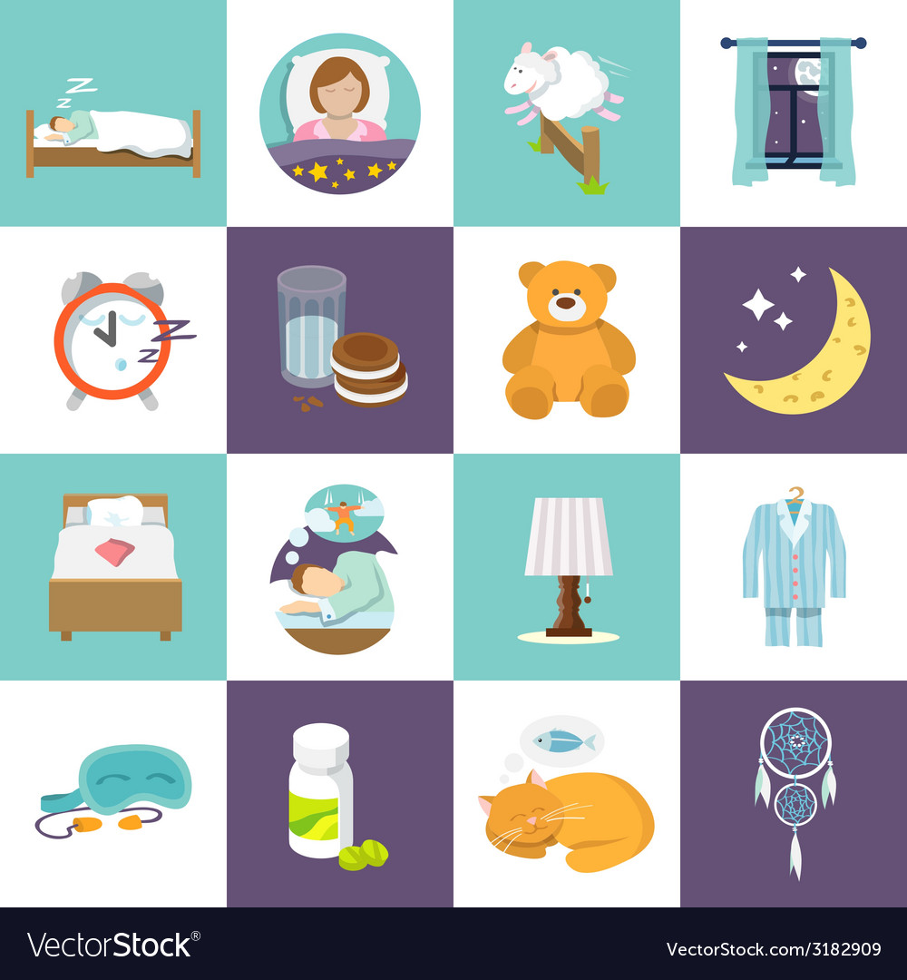 Sleep time icons flat vector | Price: 1 Credit (USD $1)