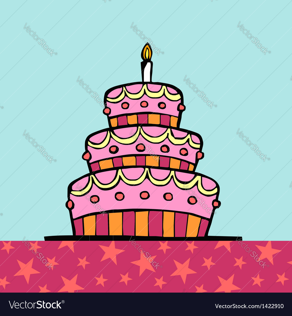 Birthday cake on the table vector | Price: 1 Credit (USD $1)