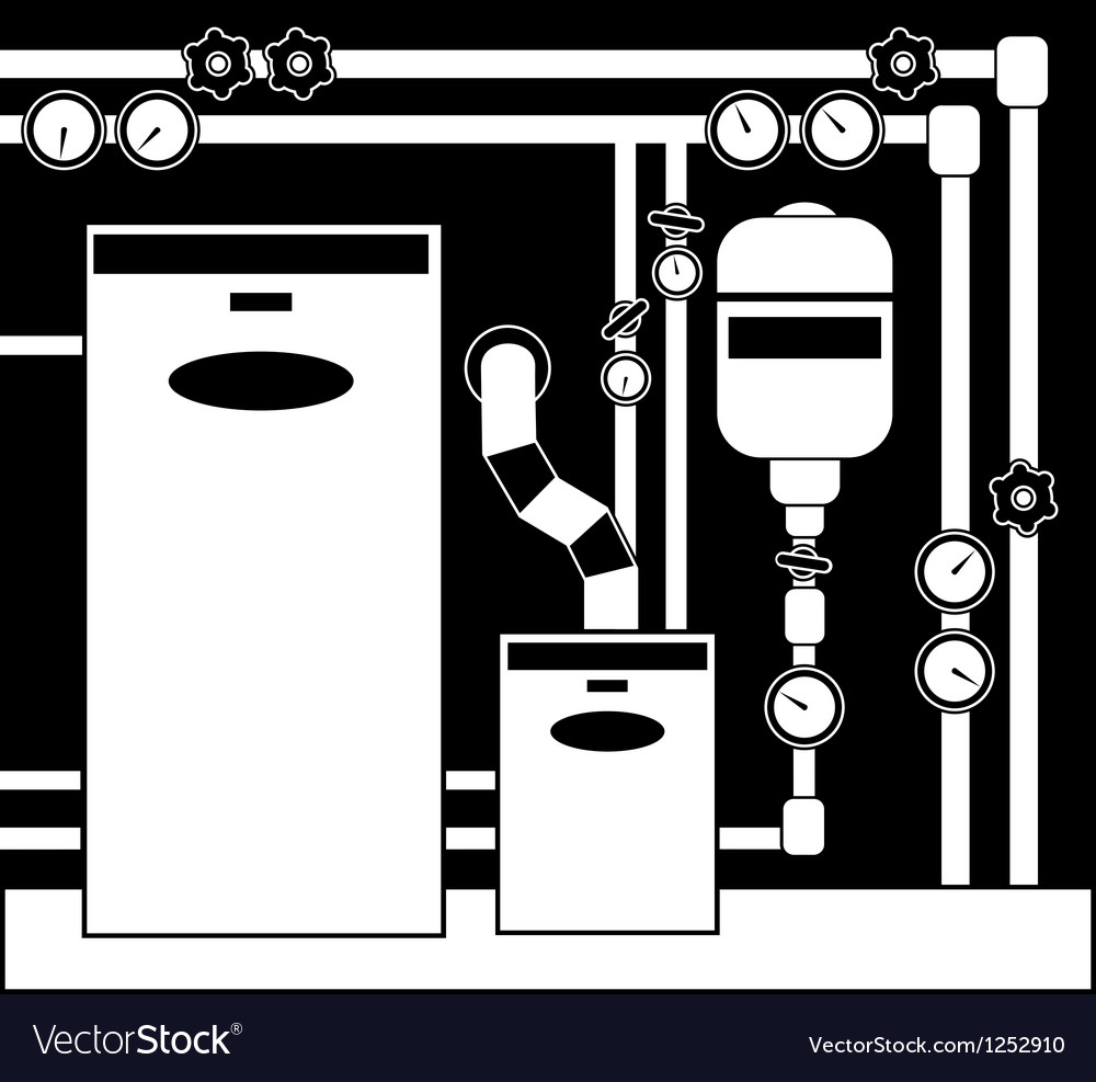 Boiler room in black and white color vector | Price: 1 Credit (USD $1)