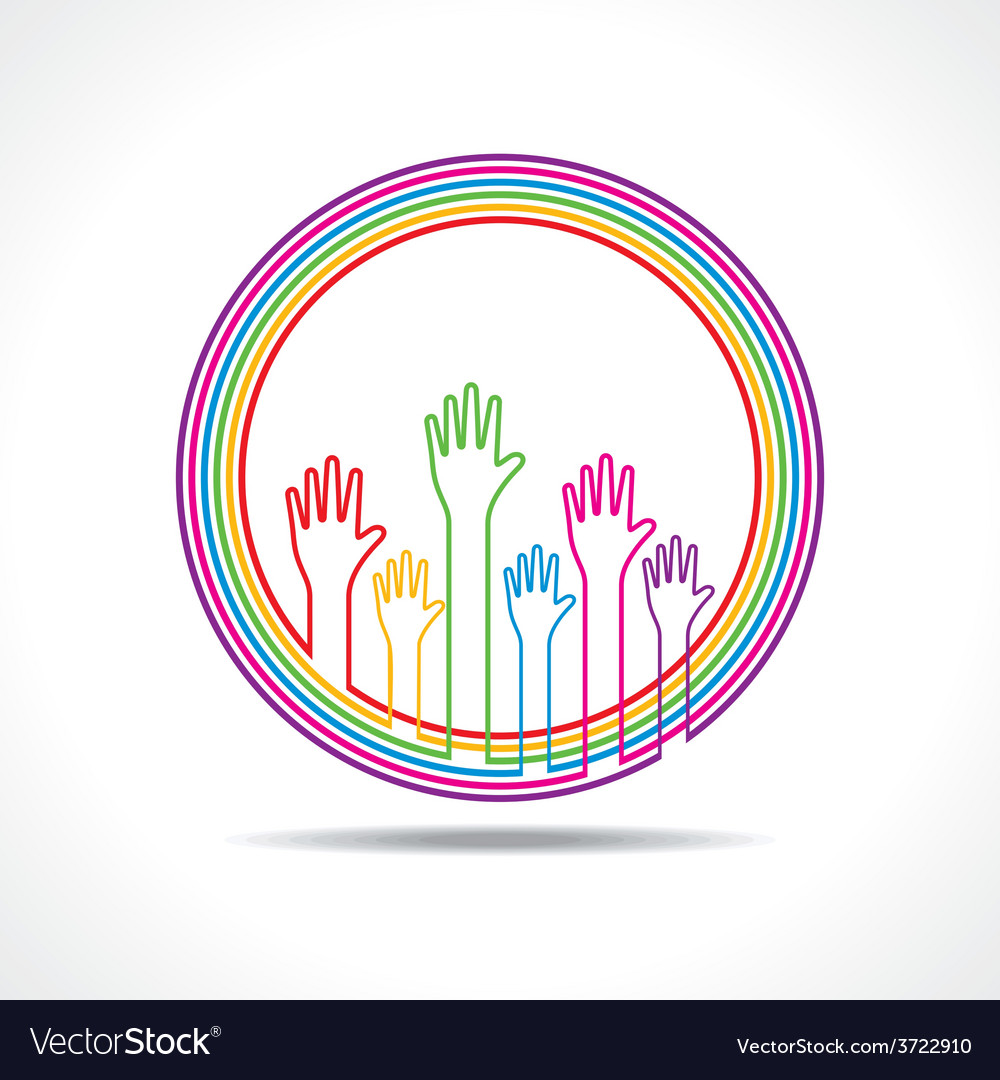 Colorful hand background vector | Price: 1 Credit (USD $1)