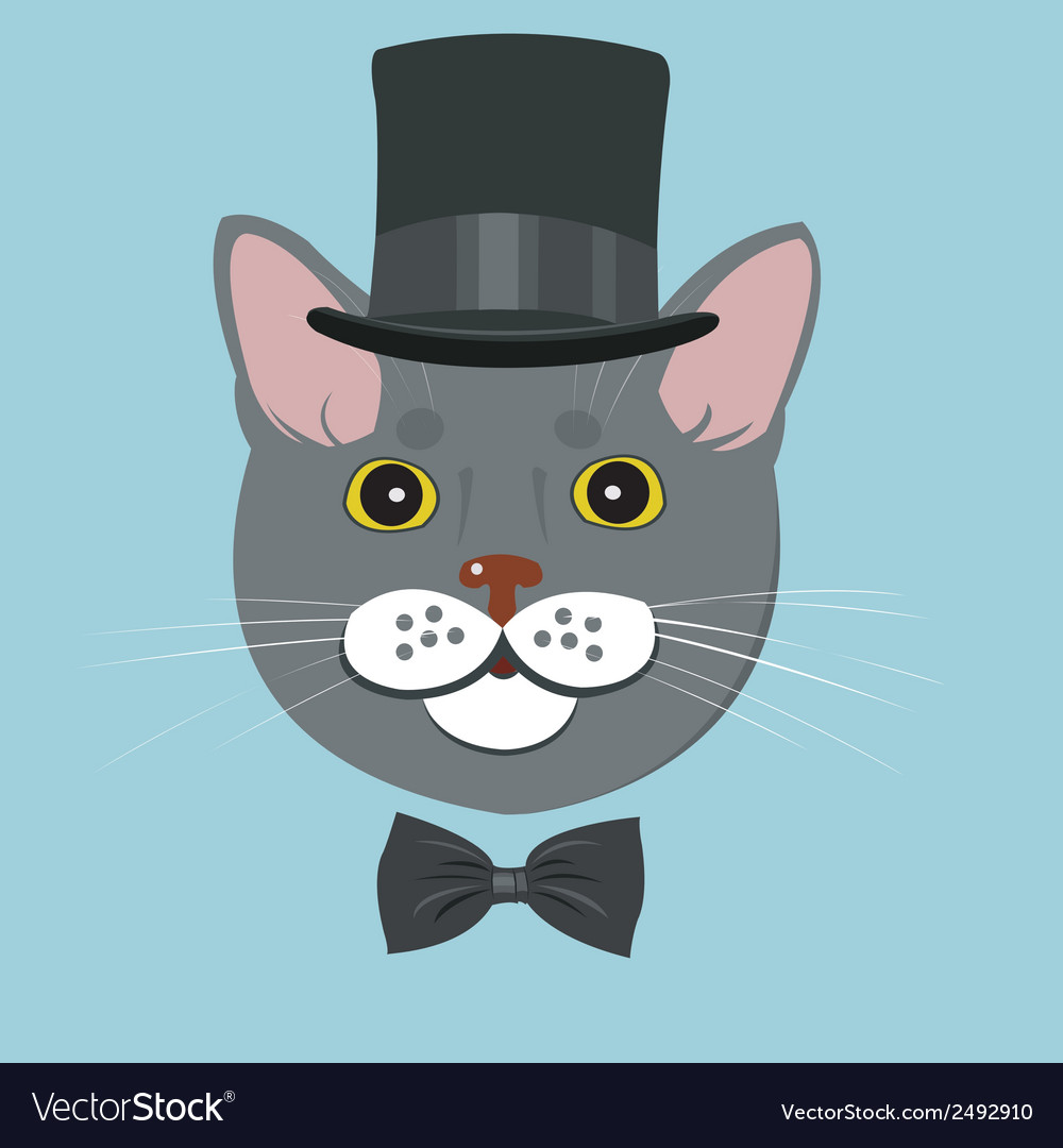 Elegant cat in top hat and bow tie vector | Price: 1 Credit (USD $1)