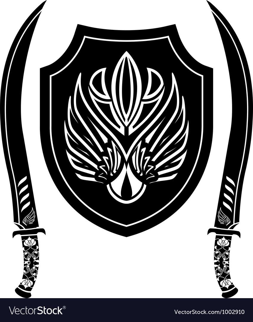 Fantasy arabian shield and swords vector | Price: 1 Credit (USD $1)