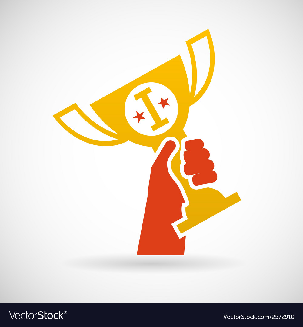 Flat design style hand holding golden bowl victory vector | Price: 1 Credit (USD $1)