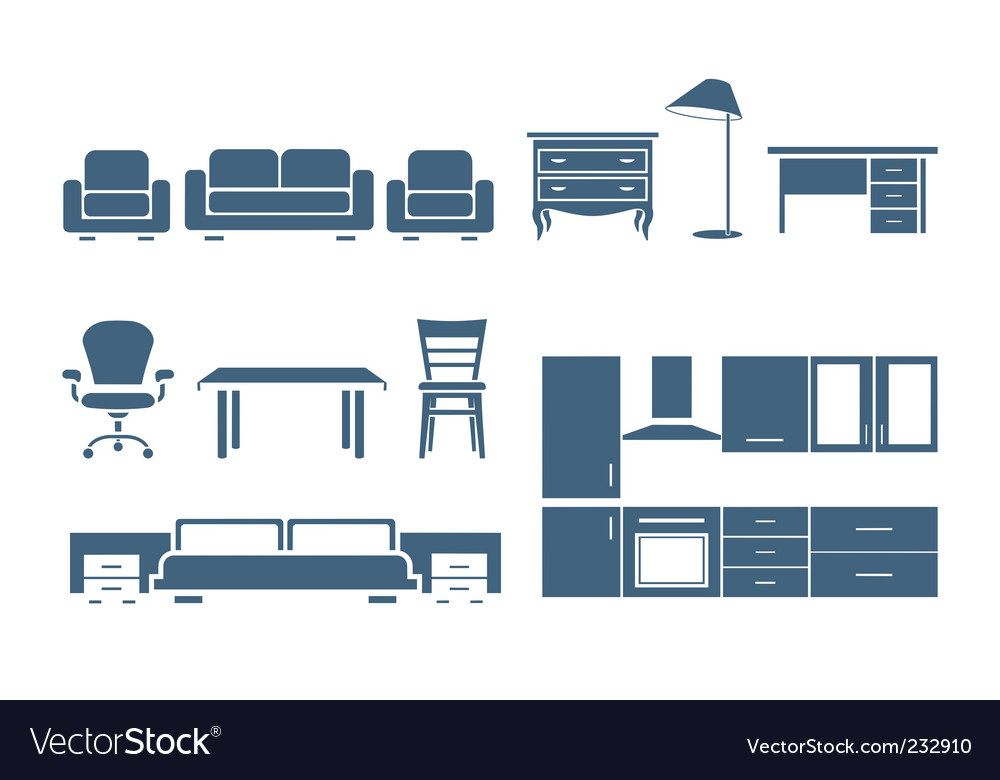 Furniture icons vector | Price: 1 Credit (USD $1)