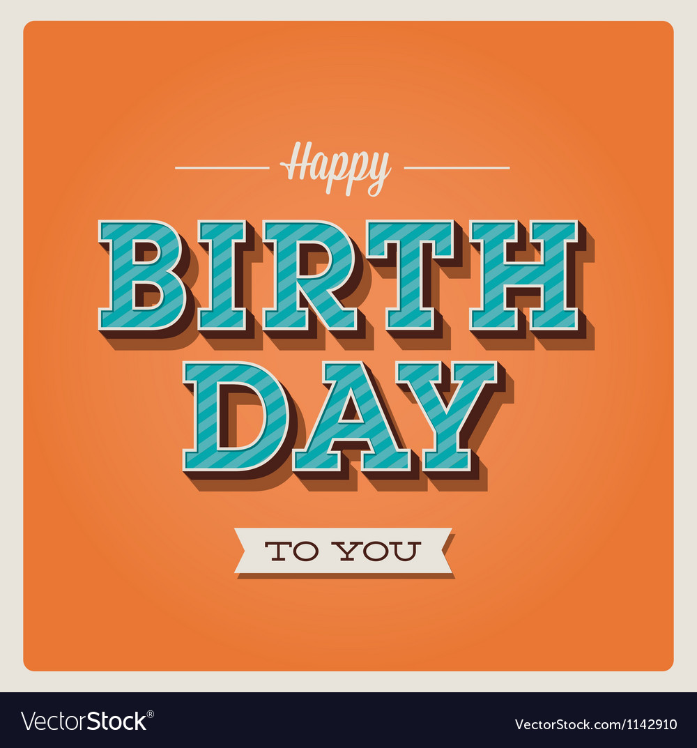 Happy birthday card font type vector | Price: 1 Credit (USD $1)