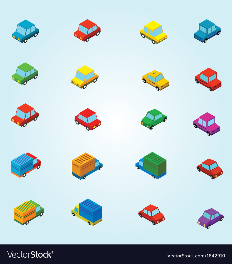 Isometric cars vector | Price: 1 Credit (USD $1)