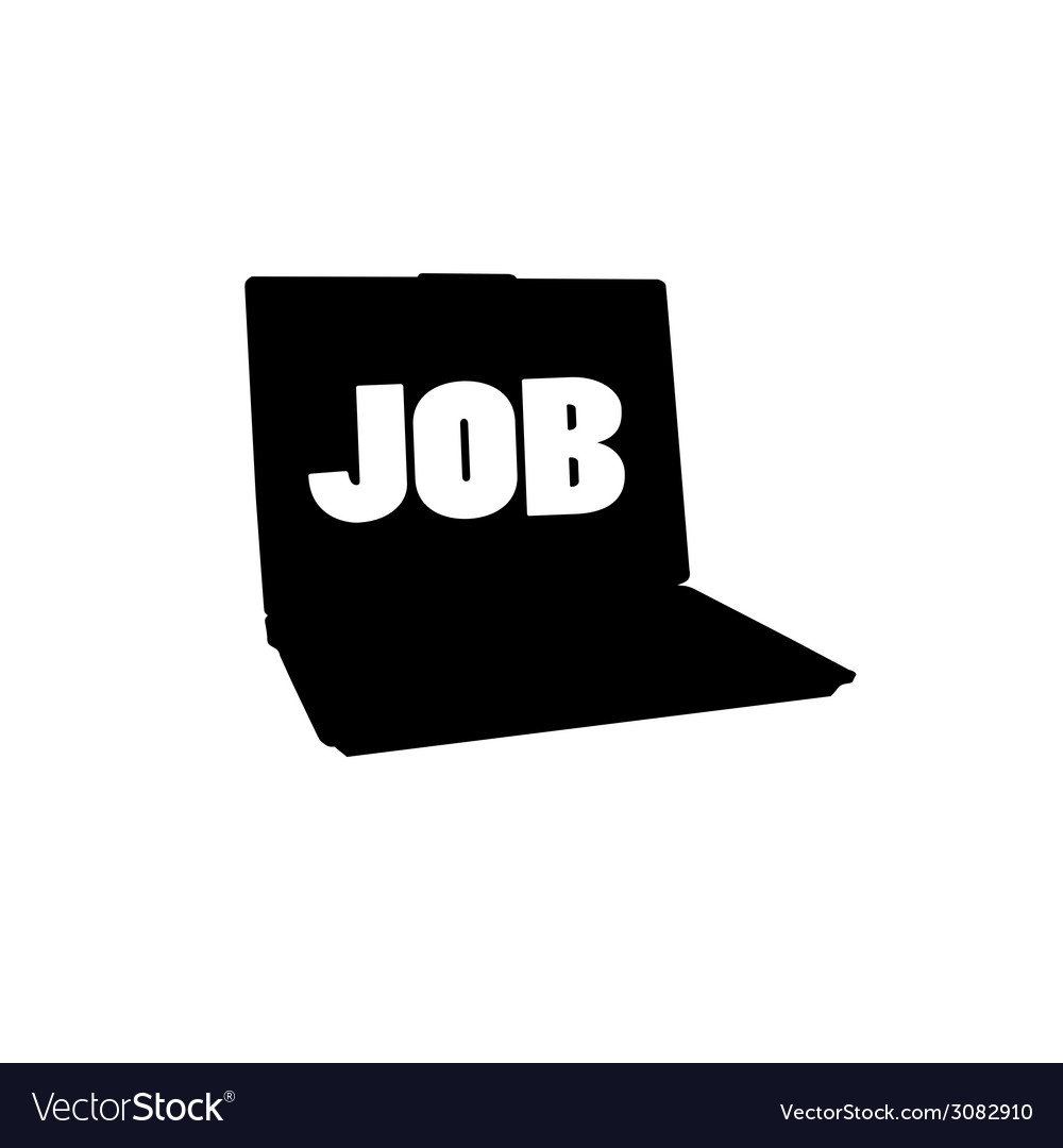 Laptop silhouette and message for a job vector | Price: 1 Credit (USD $1)