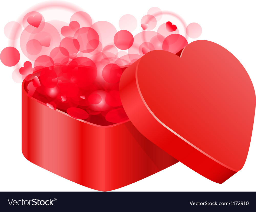 Red heart box vector | Price: 1 Credit (USD $1)