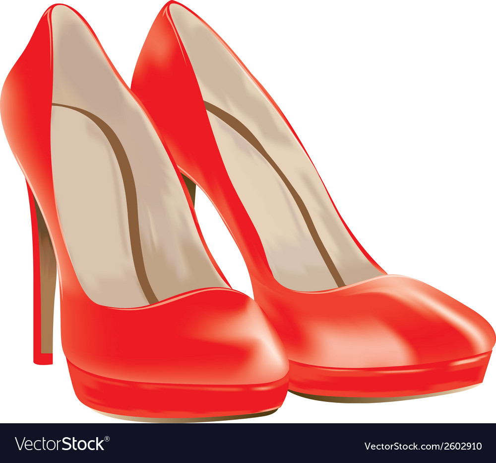 Red shoes patent leather vector | Price: 1 Credit (USD $1)