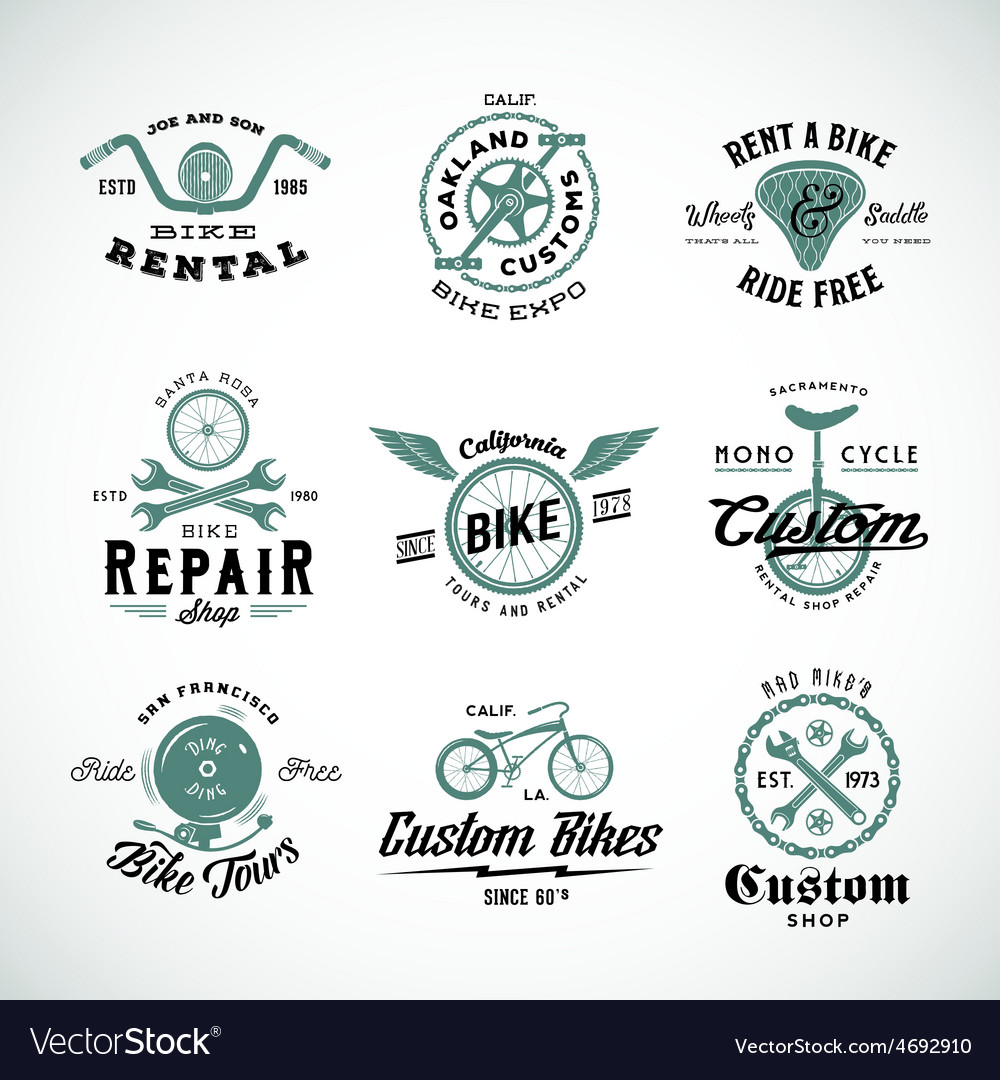 Retro bicycle labels or logo templates set vector | Price: 1 Credit (USD $1)