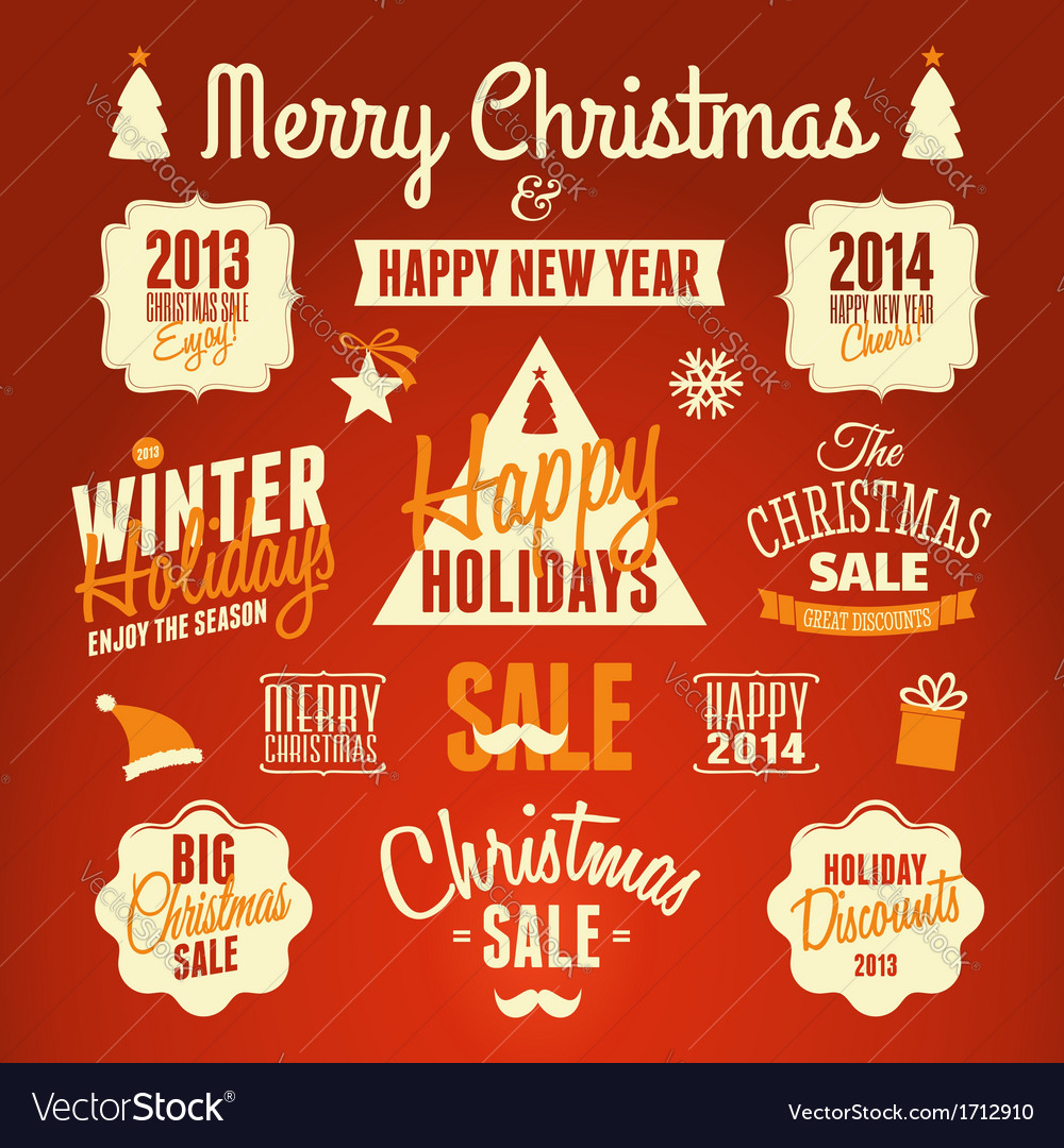 Retro style christmas design elements set vector | Price: 1 Credit (USD $1)